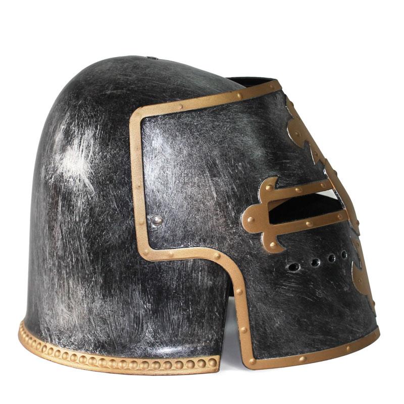 thumbnail 20 - Silver Pewter Knight Roman Armor Crusader Helmet Mask Medieval Adult Costume