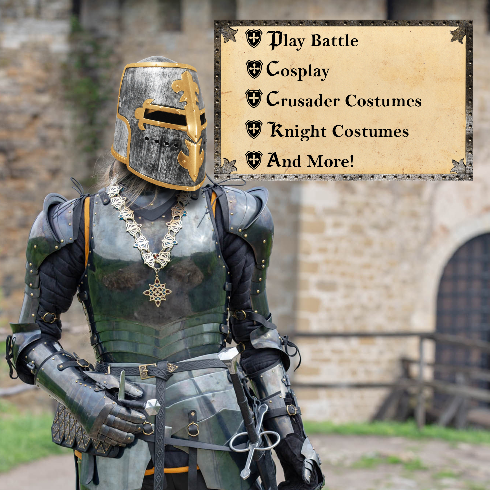 thumbnail 8 - Silver Pewter Knight Roman Armor Crusader Helmet Mask Medieval Adult Costume