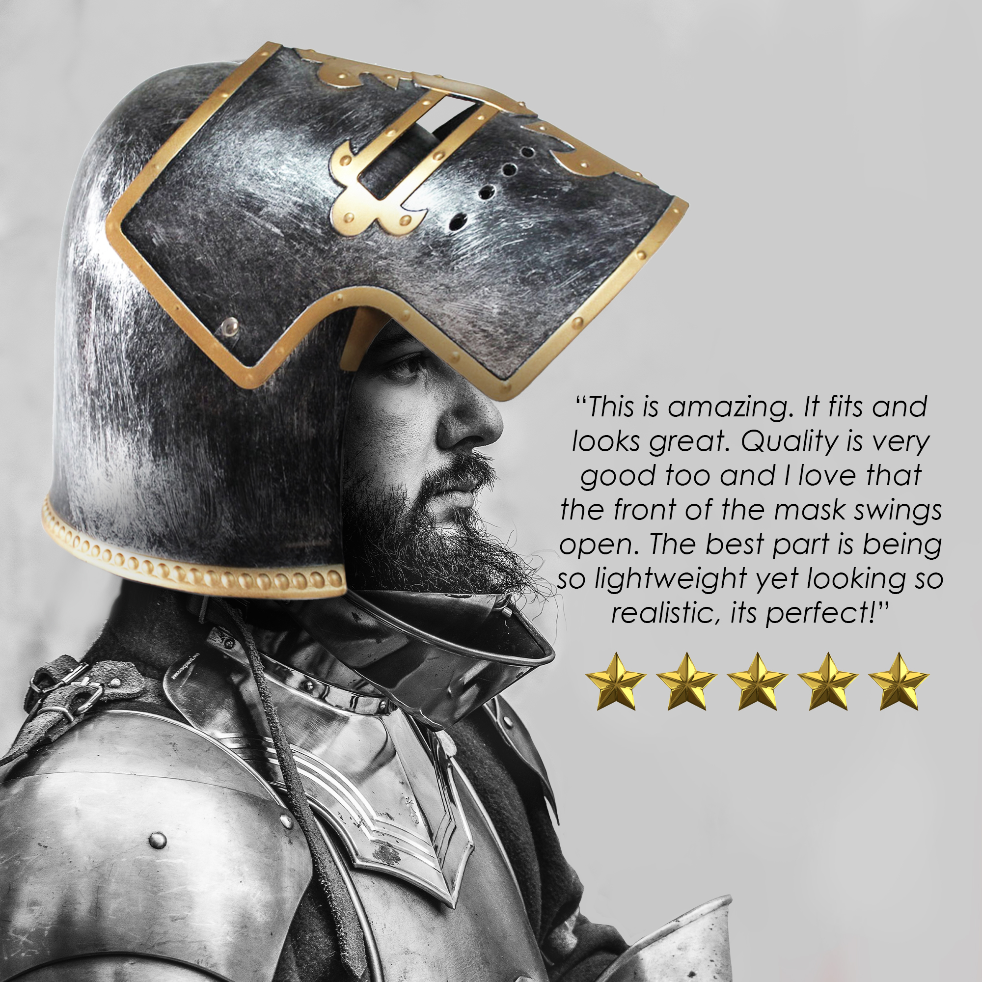 thumbnail 11 - Silver Pewter Knight Roman Armor Crusader Helmet Mask Medieval Adult Costume