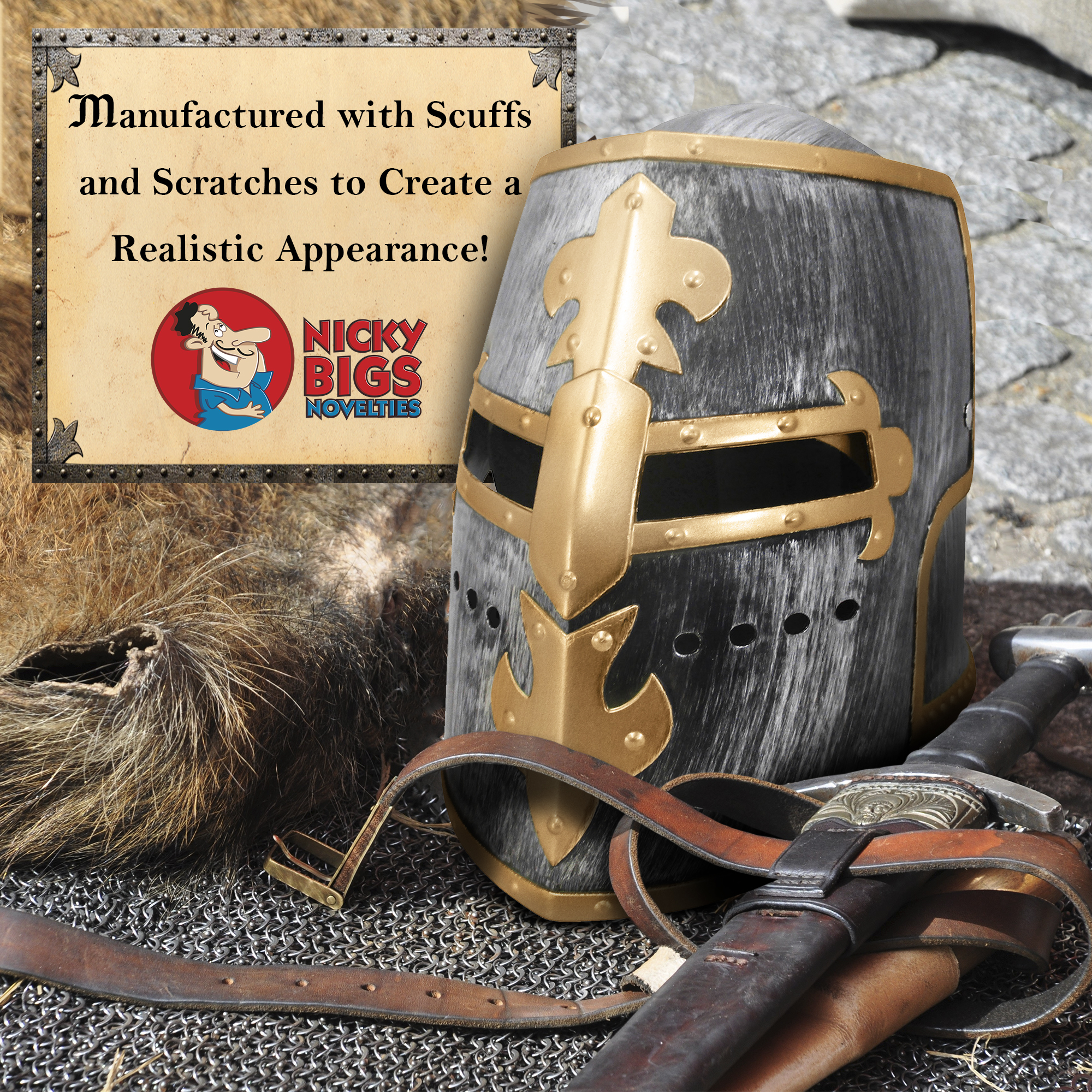 thumbnail 10 - Silver Pewter Knight Roman Armor Crusader Helmet Mask Medieval Adult Costume