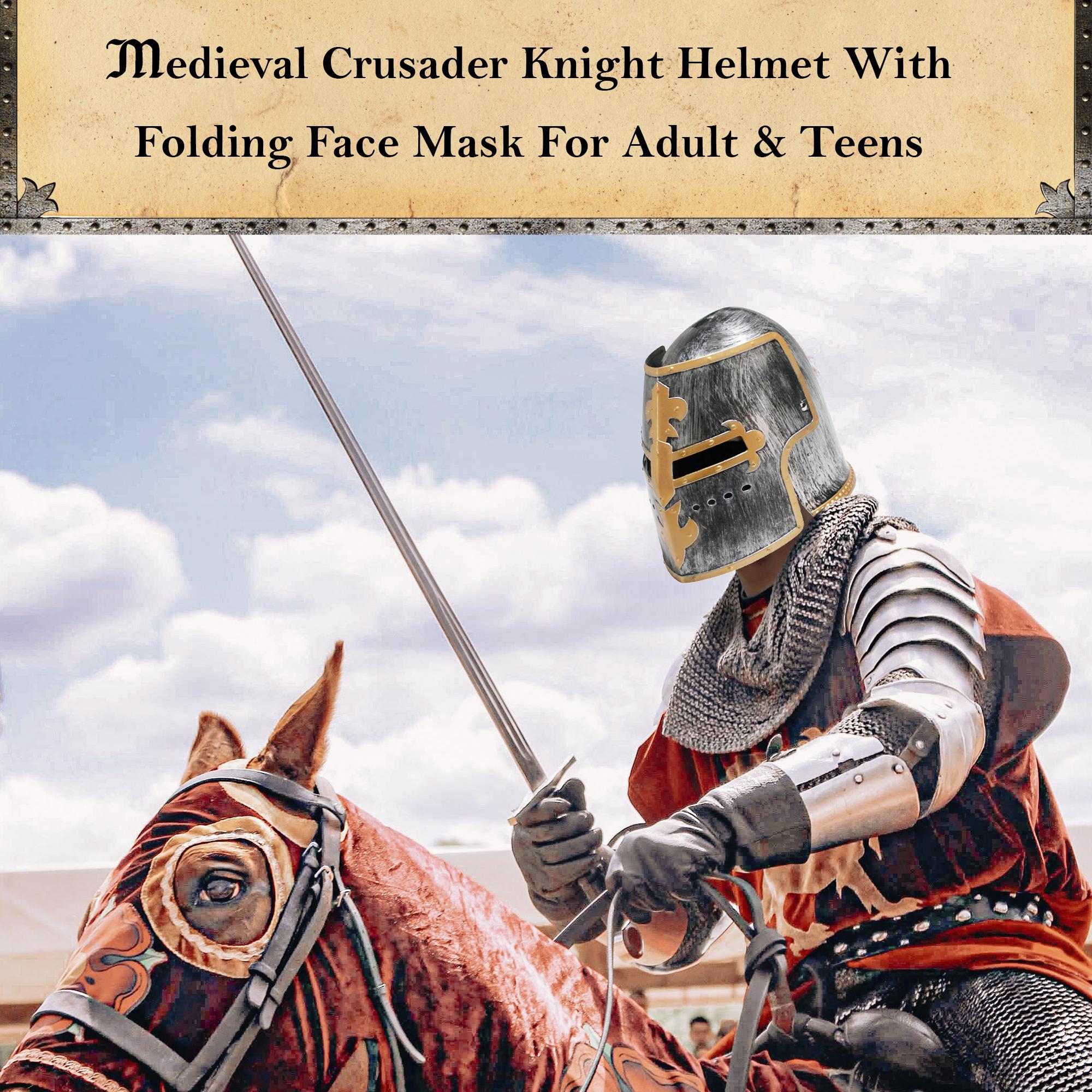 thumbnail 7 - Silver Pewter Knight Roman Armor Crusader Helmet Mask Medieval Adult Costume