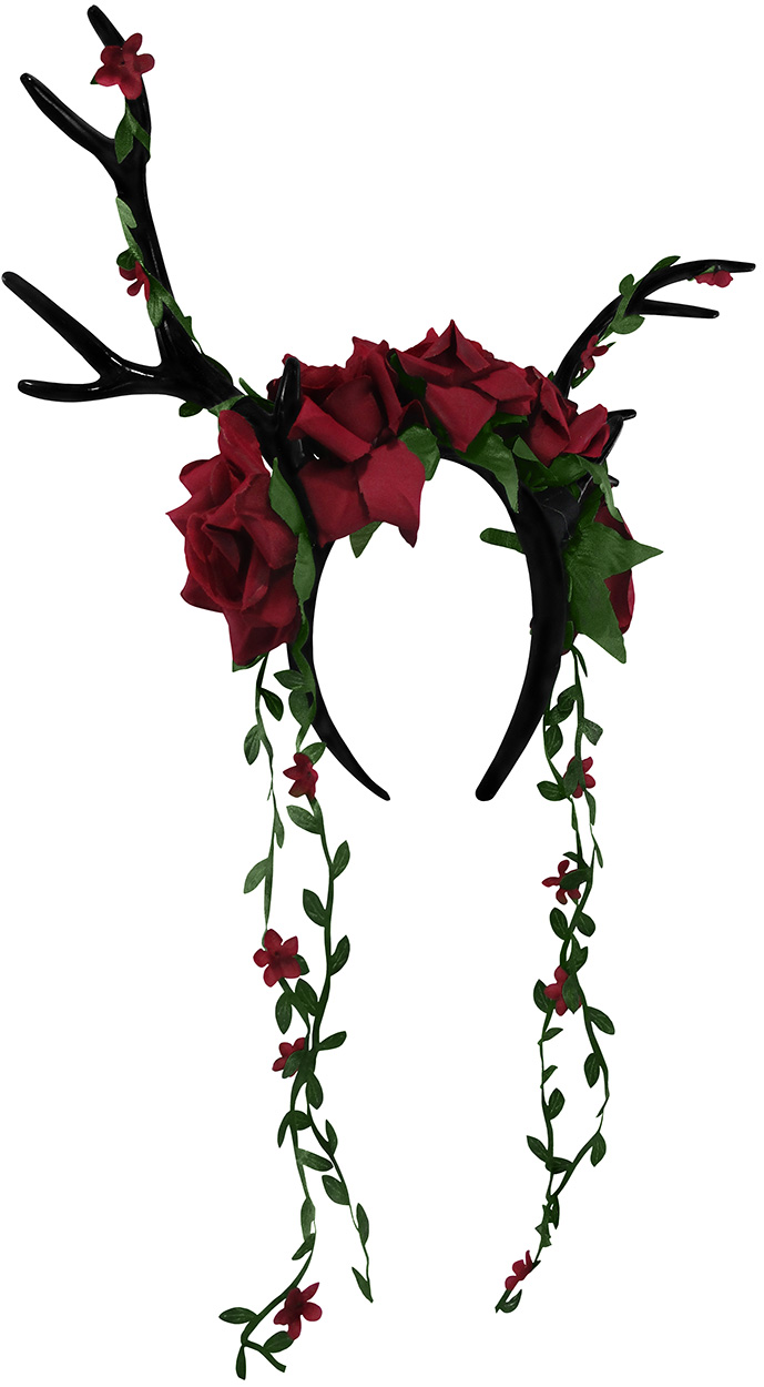 thumbnail 4 - Womens-Floral-Rose-Vine-Headband-Deer-Faun-Mythical-Creature-Halloween-Accessory