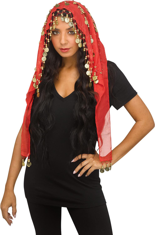 thumbnail 6 - Women-Bohemian-Head-Scarf-Belly-Dancer-Skirt-Wrap-Gold-Coins-Halloween-Costume