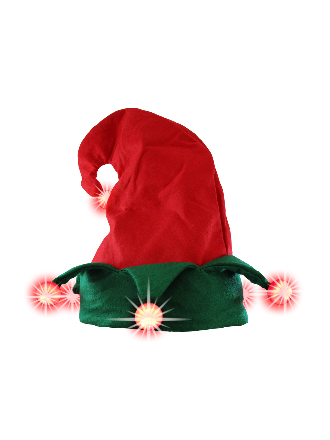 thumbnail 7 - Nicky-Bigs-Novelties-Light-Up-Elf-Hat-Costume-Accessory-Red-Green-One-Size