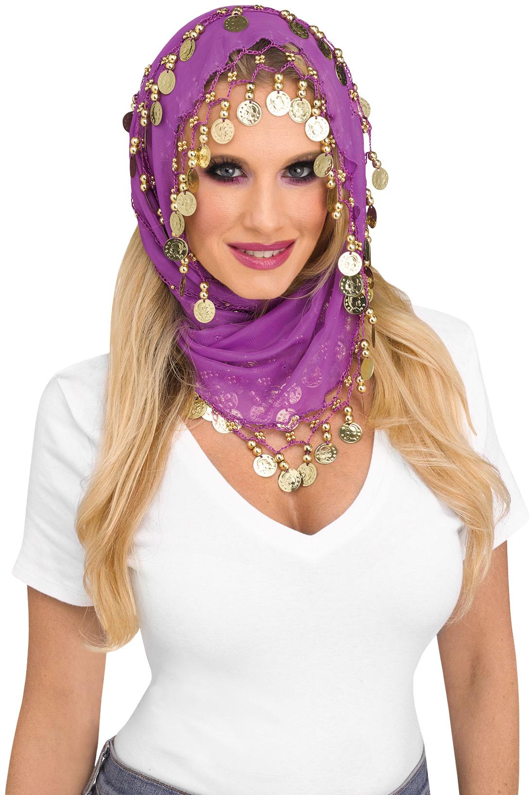 thumbnail 3 - Women-Bohemian-Head-Scarf-Belly-Dancer-Skirt-Wrap-Gold-Coins-Halloween-Costume