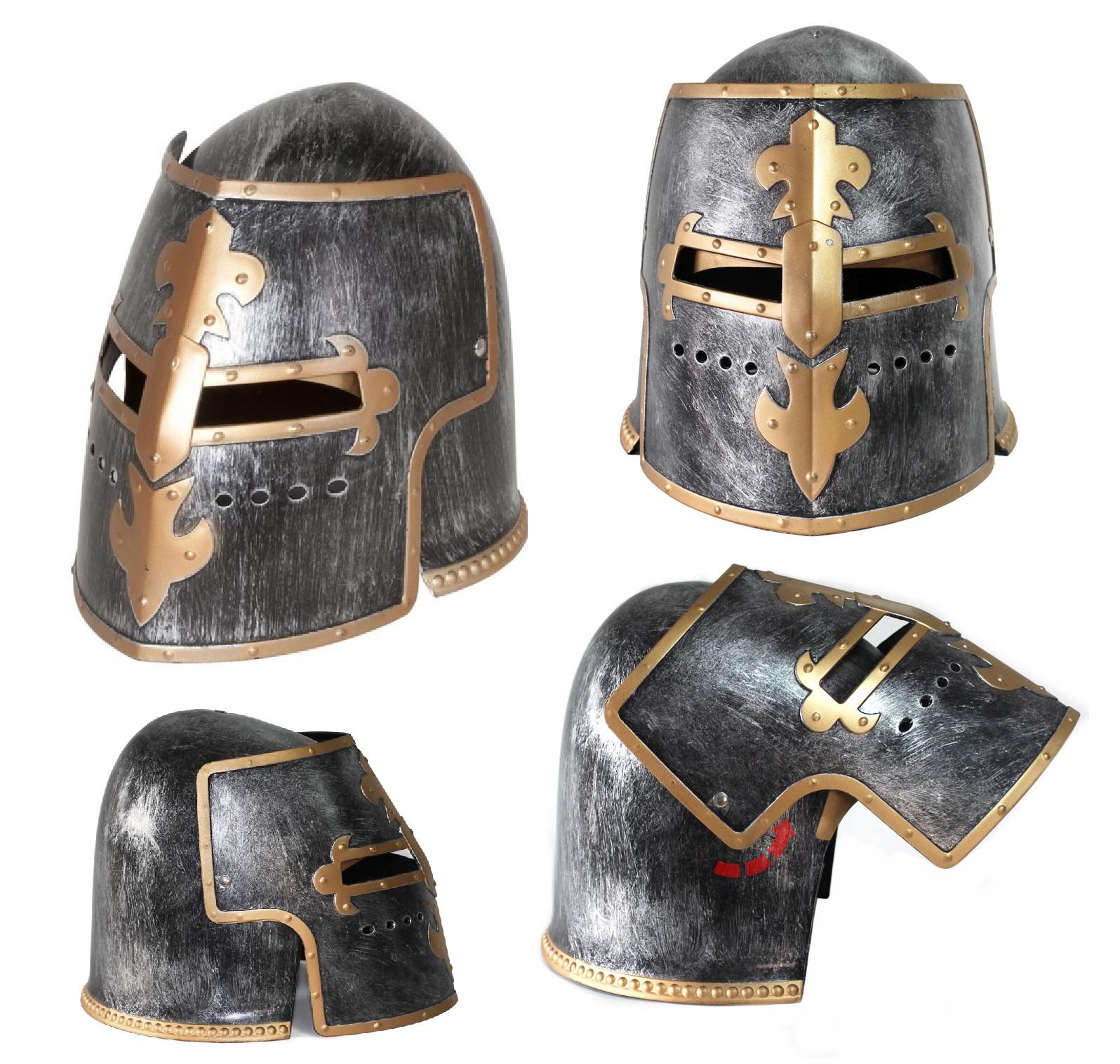 thumbnail 21 - Silver Pewter Knight Roman Armor Crusader Helmet Mask Medieval Adult Costume