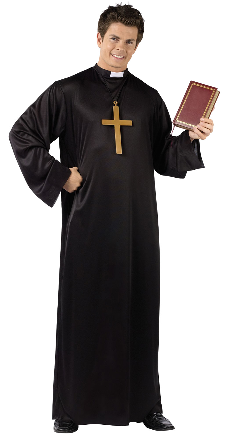 Mens Catholic Priest Black Robe White Collar Church Minister Halloween Costume 23168099327 Ebay
