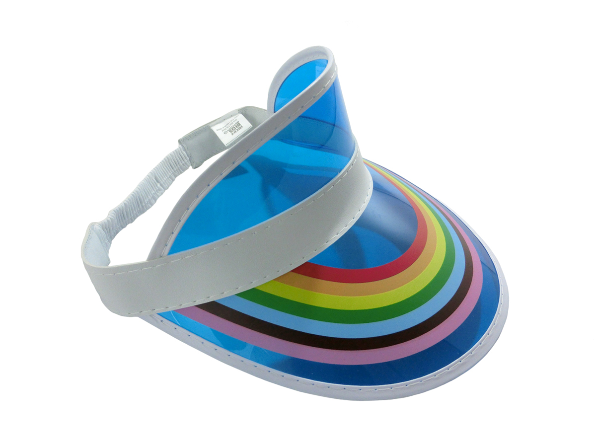 thumbnail 8 - Retro Rainbow Color Sun Visor Beach Plastic Vegas Golf LGBTQ Gay Pride Hat