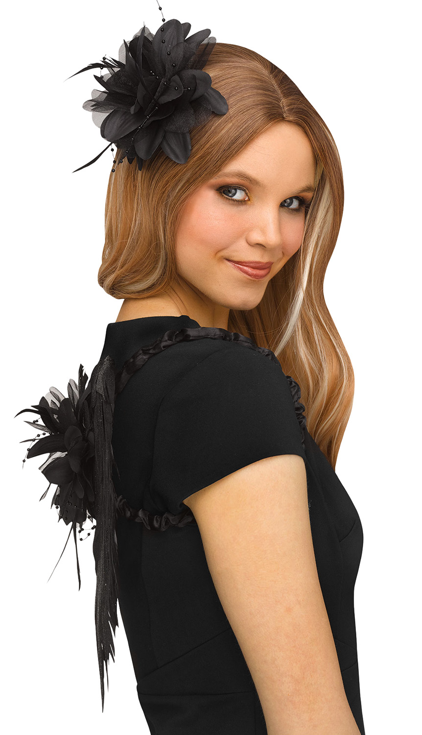 thumbnail 3 - Deluxe-Womens-Small-Glittery-Feather-Angel-Wings-Halloween-Costume-Accessory