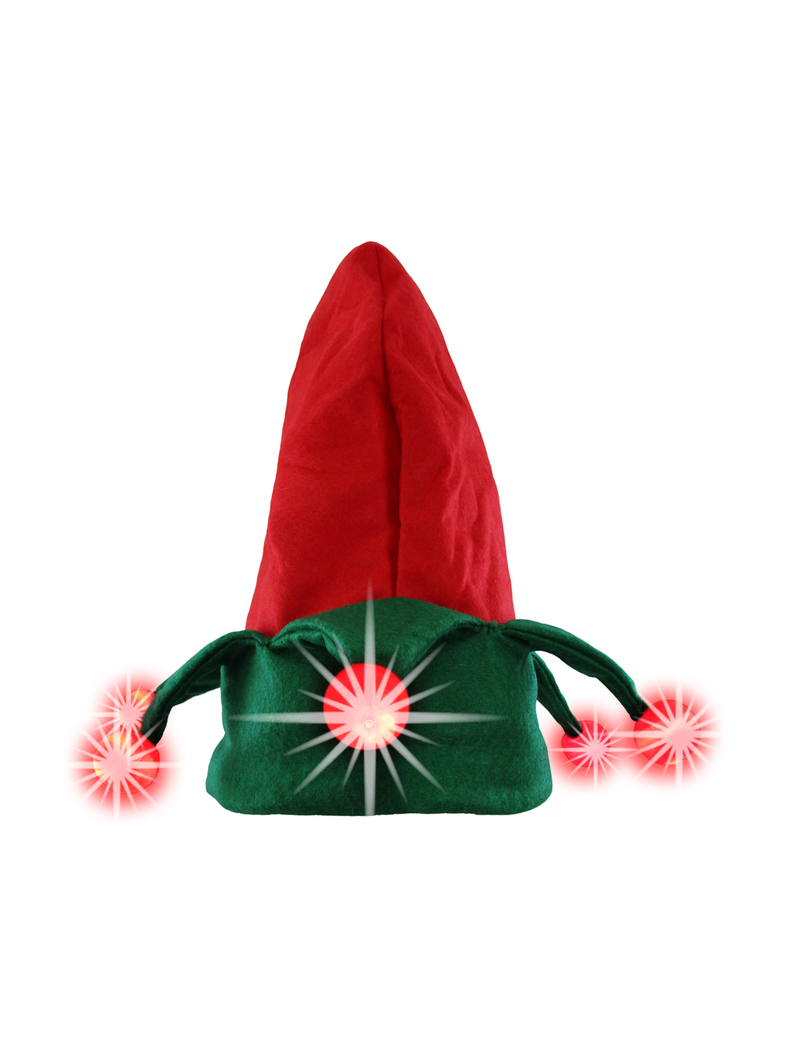 thumbnail 6 - Nicky-Bigs-Novelties-Light-Up-Elf-Hat-Costume-Accessory-Red-Green-One-Size
