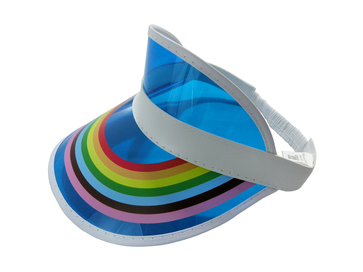 thumbnail 9 - Retro Rainbow Color Sun Visor Beach Plastic Vegas Golf LGBTQ Gay Pride Hat