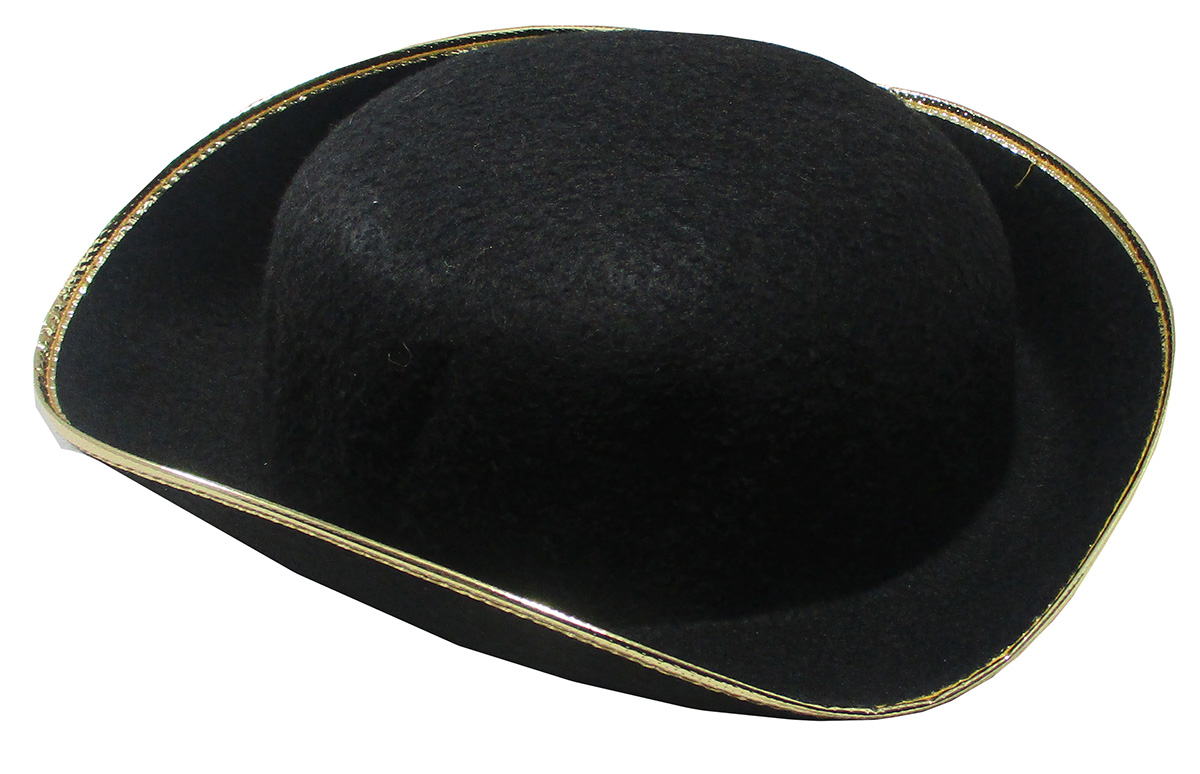 thumbnail 4 - Tri-Corner-Felt-Pirate-Hat-Large-Black