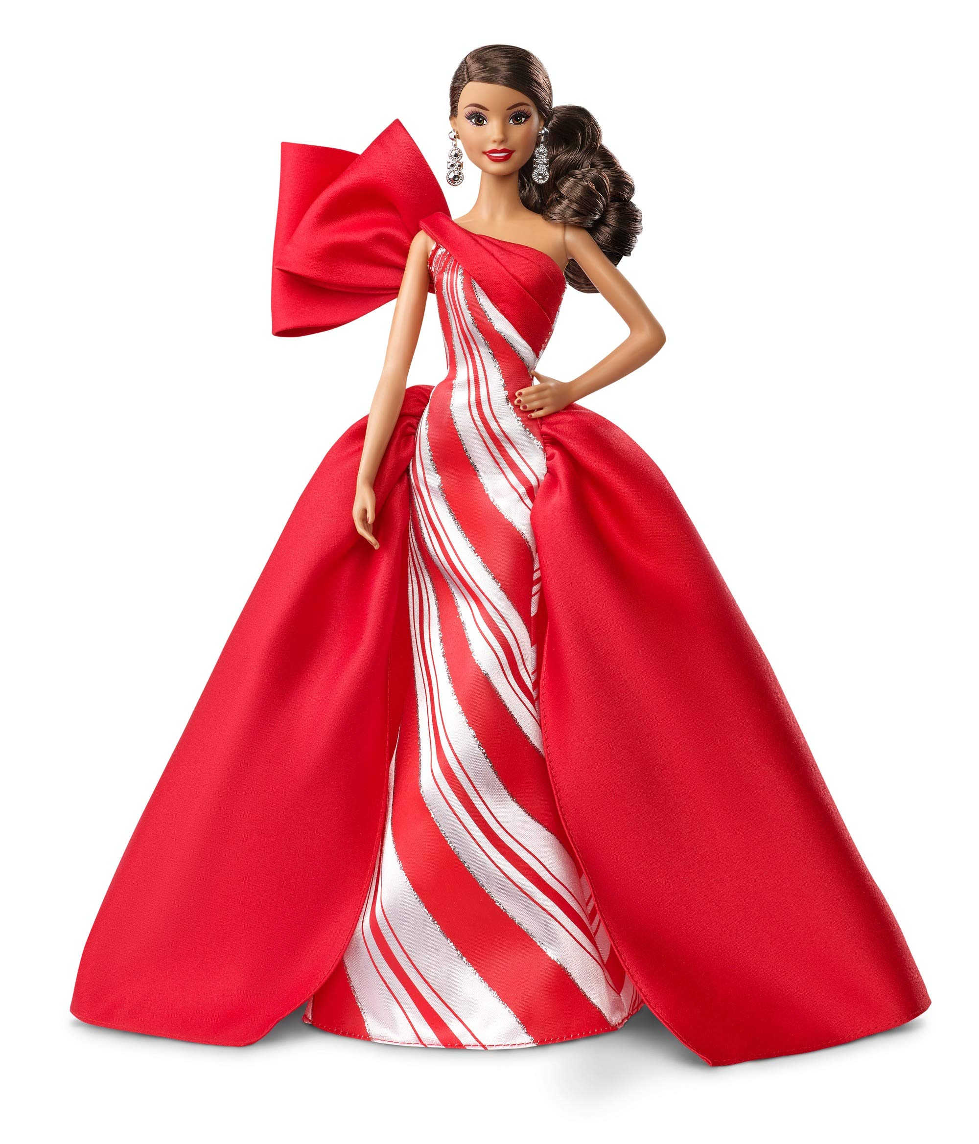 Wearing Red And White Gow Wavy Brunette 11.5-Inch Barbie ​2019 Holiday Doll