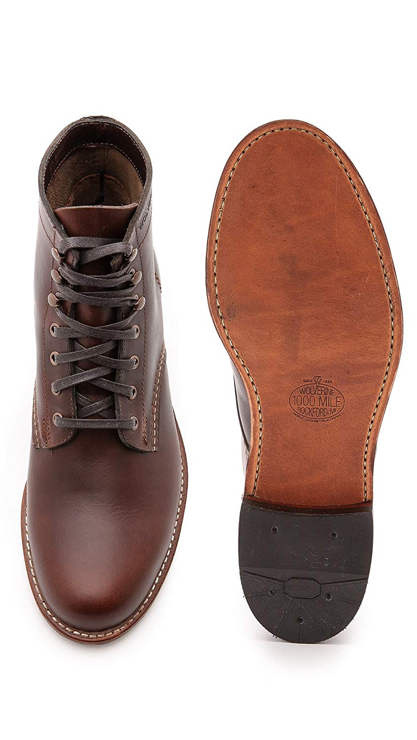 Wolverine-1000-Mile-Men-039-s-Leather-Boots-Cordovan-8-Black-Brown-Rust thumbnail 5