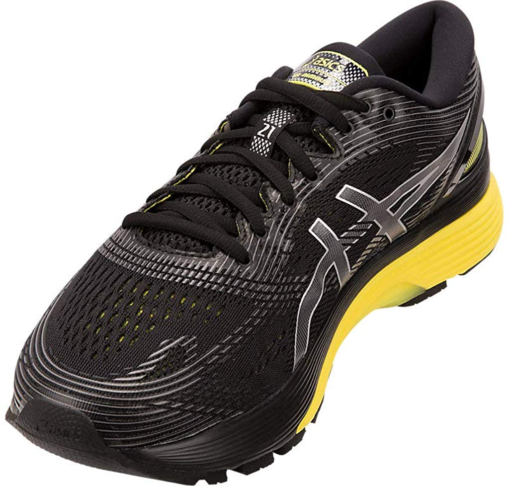 ASICS-1011A169-003-Men-039-s-Gel-Nimbus-21-Black-Lemon-Spark-Running-Shoe miniatura 10