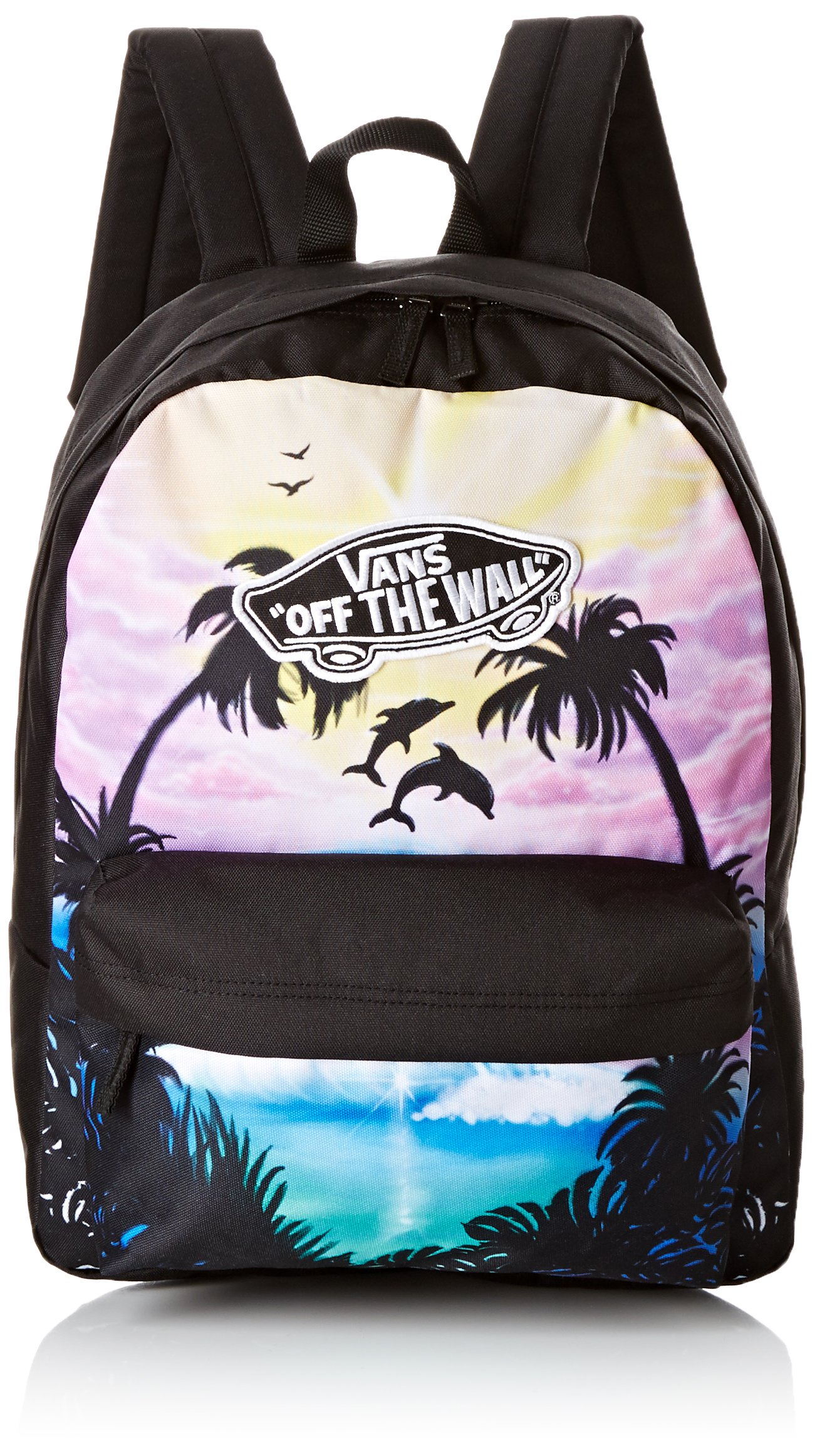 Details about Vans Women's Realm Backpack Palm Tree Dolphin Black