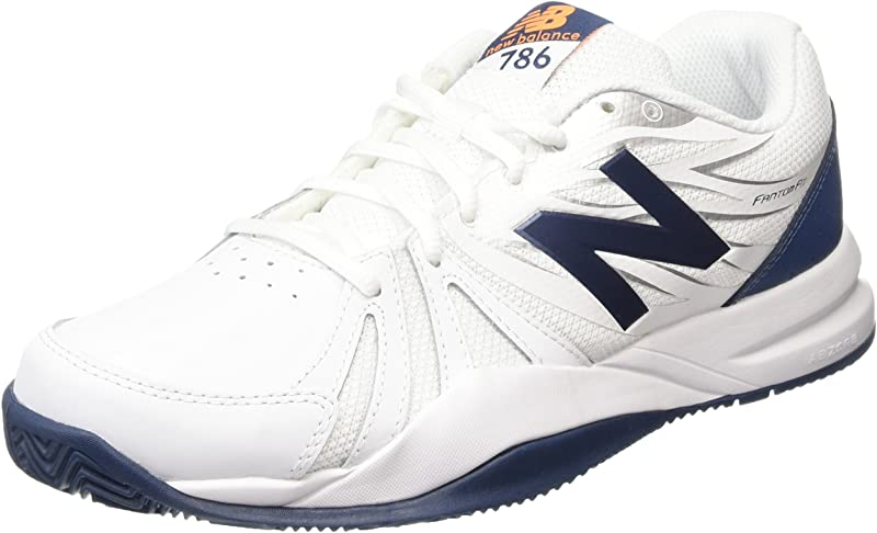 New Balance Men's 786v2 Tennis Shoe, White/Blue, 12 D US