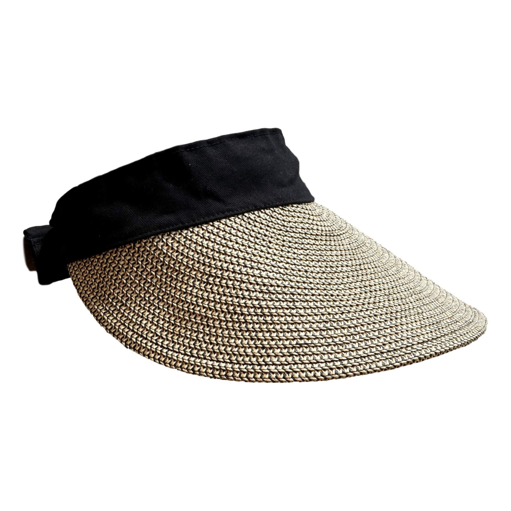 Foldable Sun Visors for Women Beach Hat Wide Brim Sun Hat Roll-Up Straw Hat
