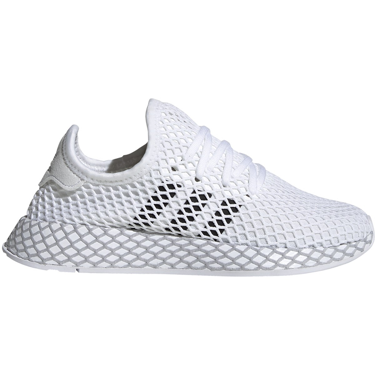 Details about adidas Boys DEERUPT RUNNER WHITE/BLACK/GREY SHOES - F34295