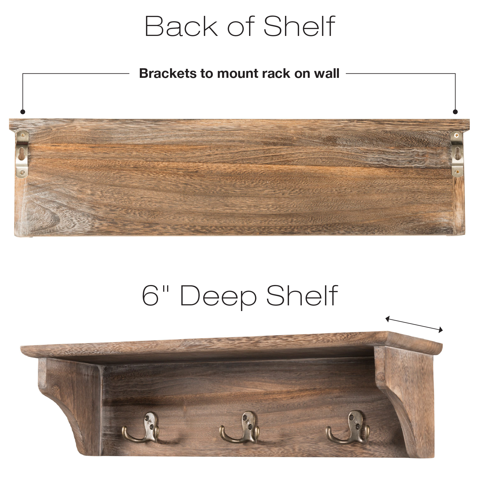 """24/""""x6/"""" 6 hooks Handcrafted Rustic Wooded Wall Mounted Hanging Entryway Shelf"""
