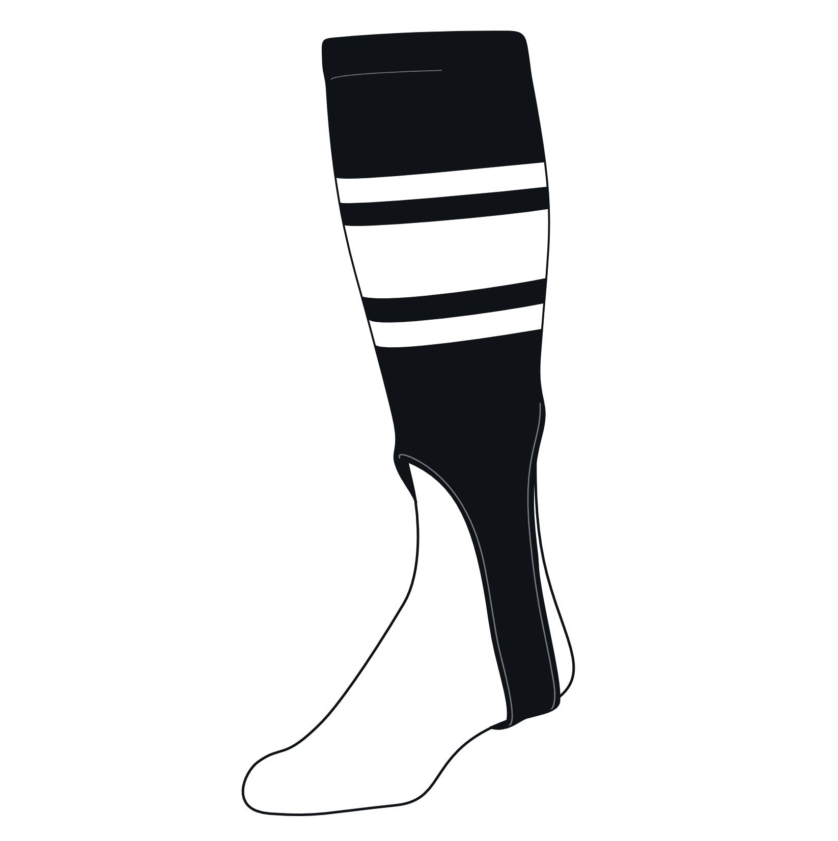 White Black TCK Baseball Stirrups Small//Youth 100C, 6in