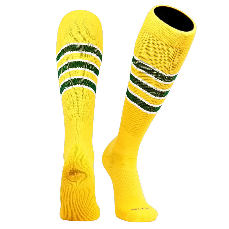 White Dk Green F Orange TCK Elite Baseball Football Knee High Striped Socks
