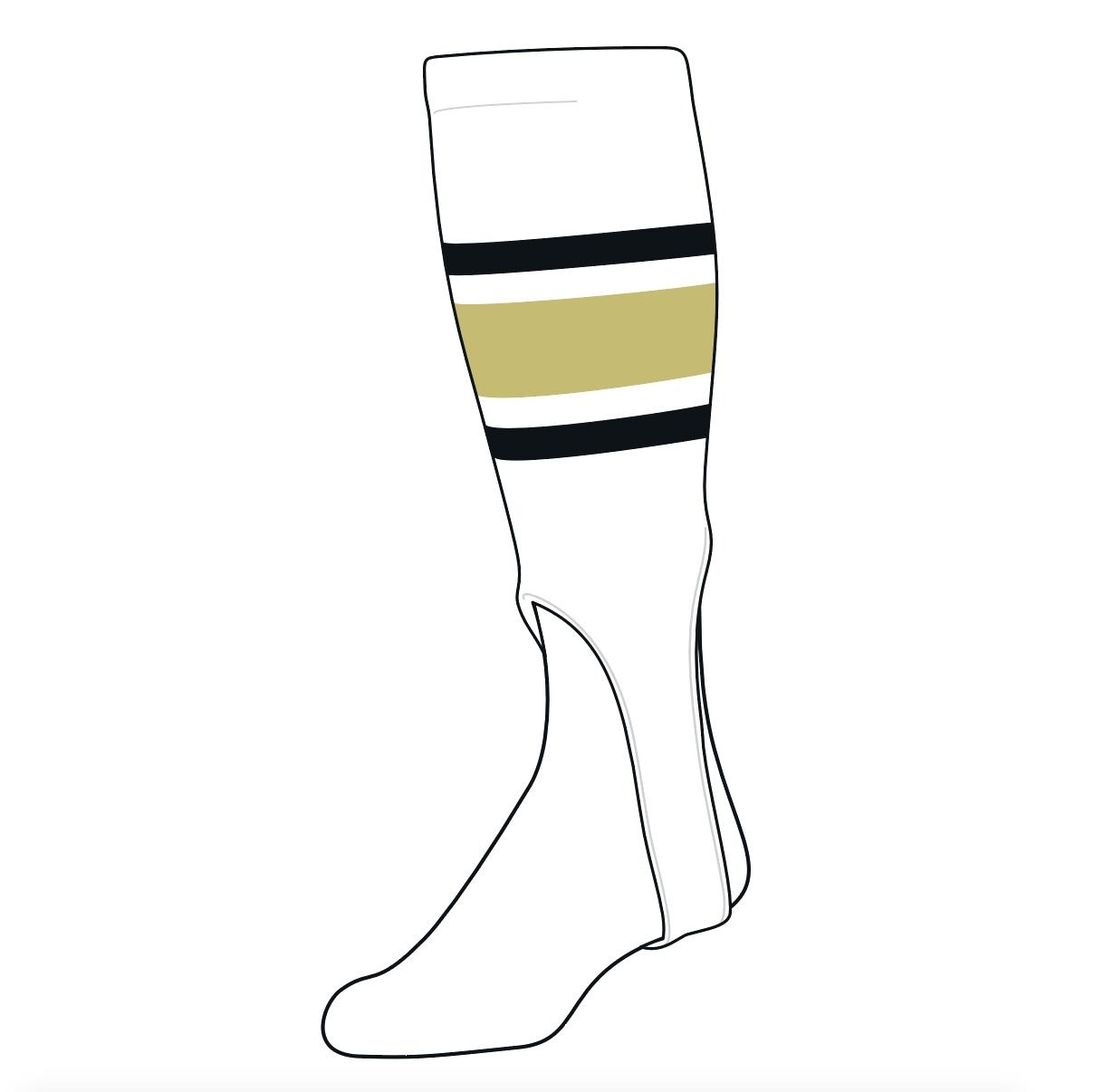 White 200F, 5in Black Vegas Gold TCK Baseball Stirrups Medium