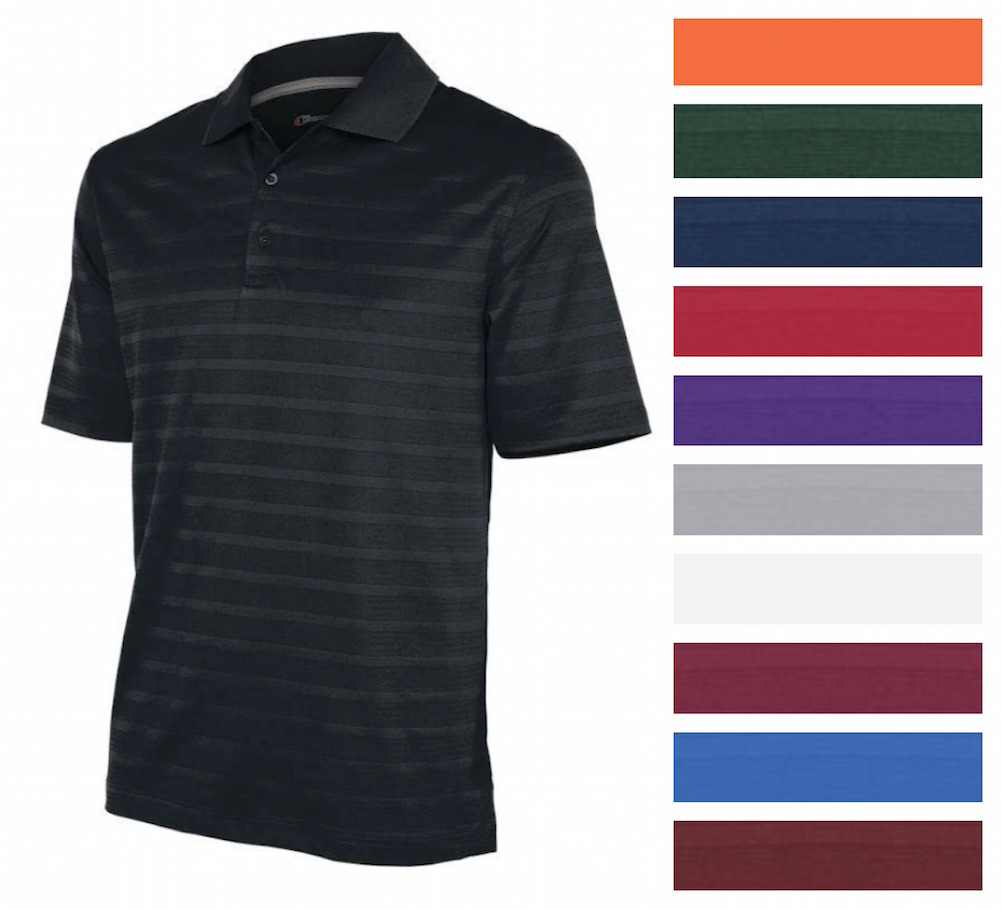 Champion-Men-039-s-Textured-Stripe-Polo-Athletic-Casual-Loose-Fit-Golf-T-Shirt thumbnail 3