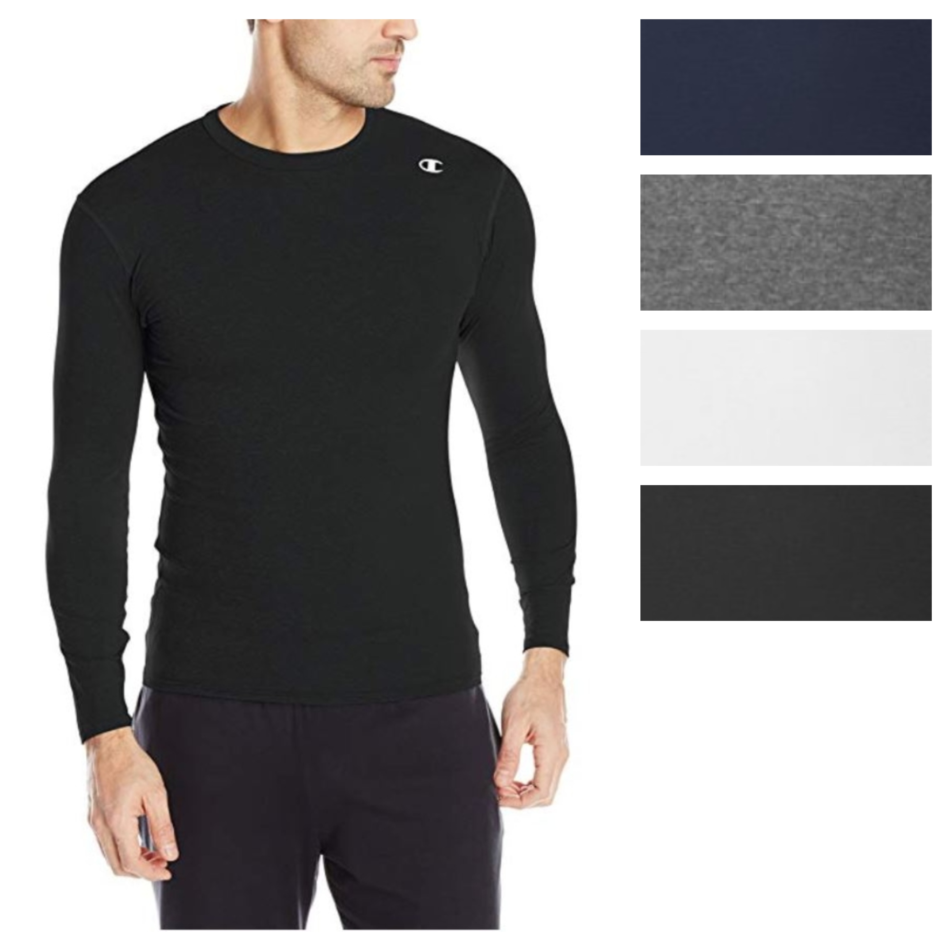 outlet online choose latest price Details about Champion Men's Double Dry Compression T-Shirt Long-Sleeve  Athletic Baselayer Tee