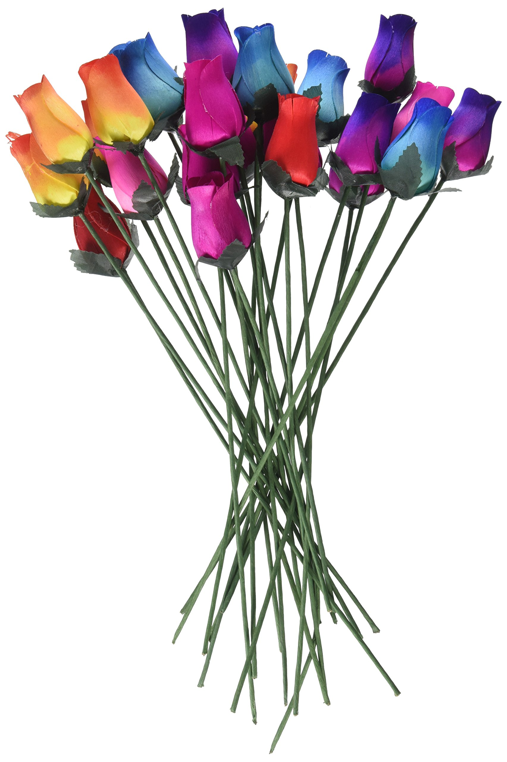 Details About Wooden Roses 2 Dozen 24 Mixed Color Bouquet Of Buds Artificial Flowers New