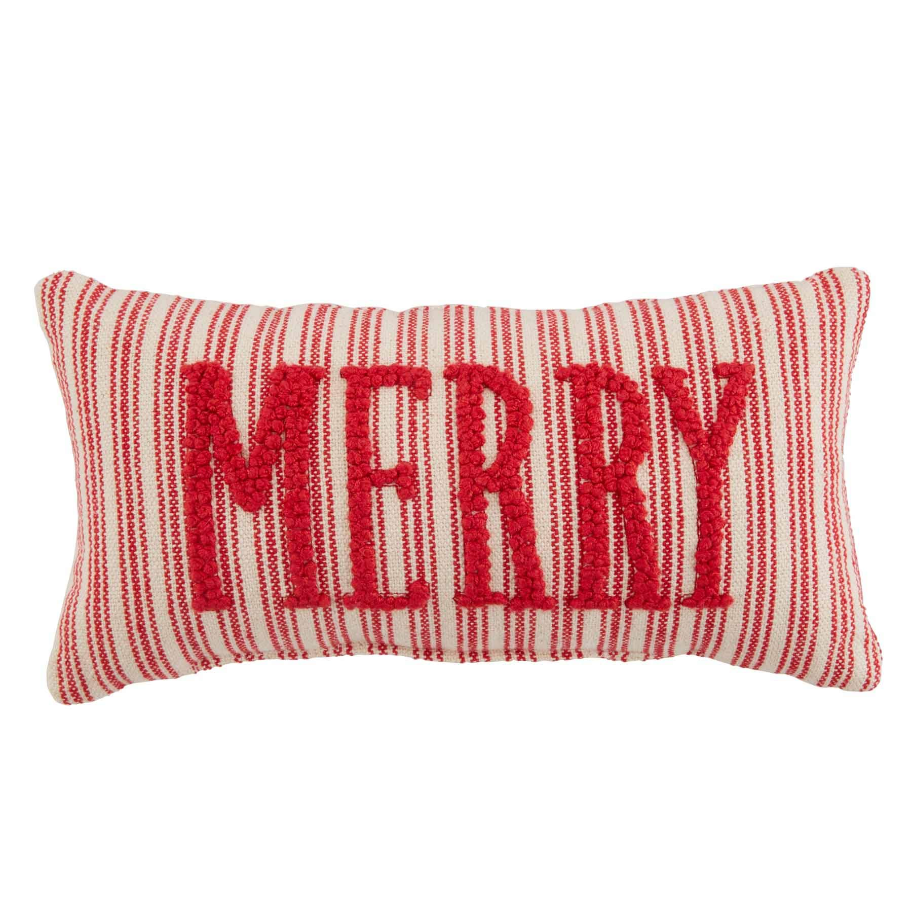 Mud Pie Merry Small Knotted Pillow Red White Ebay