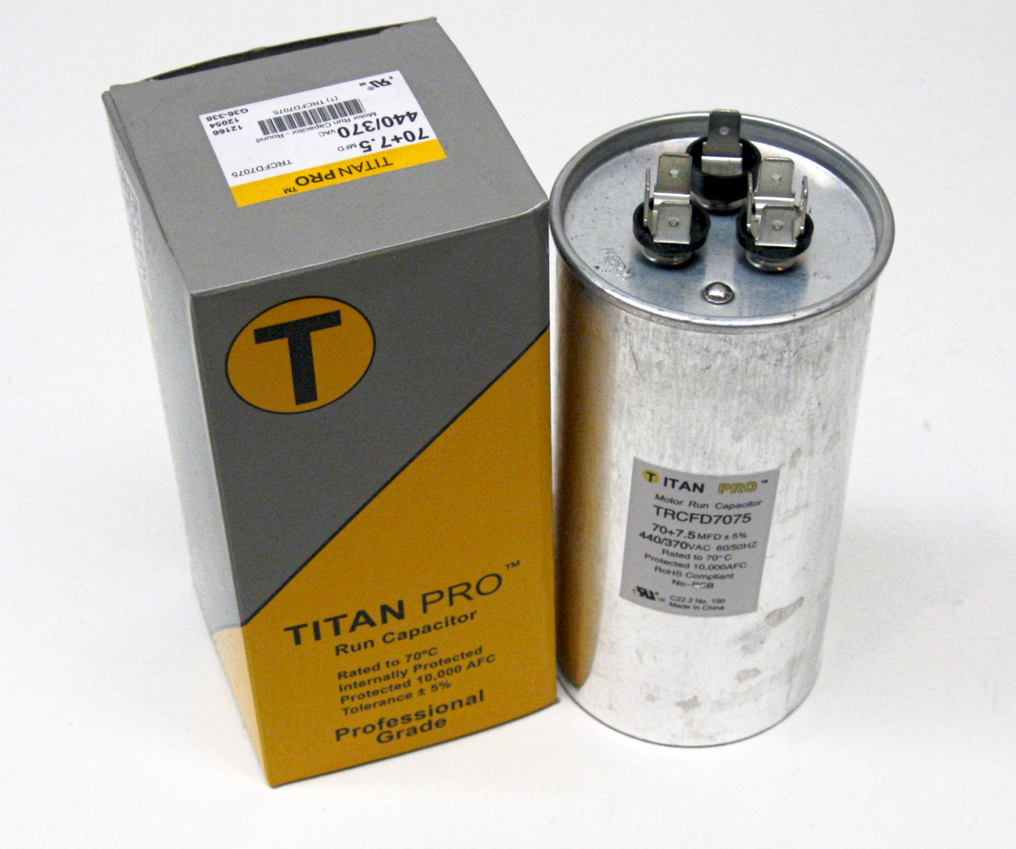 TitanPro TRCFD5575 HVAC Round Dual Motor Run Capacitor 55//7.5 MFD 440//370 Volts