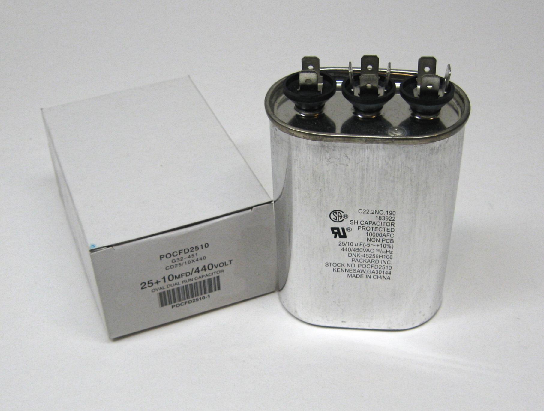 Titanpro Tocfd2510 Hvac Oval Motor Run Dual Capacitor 25