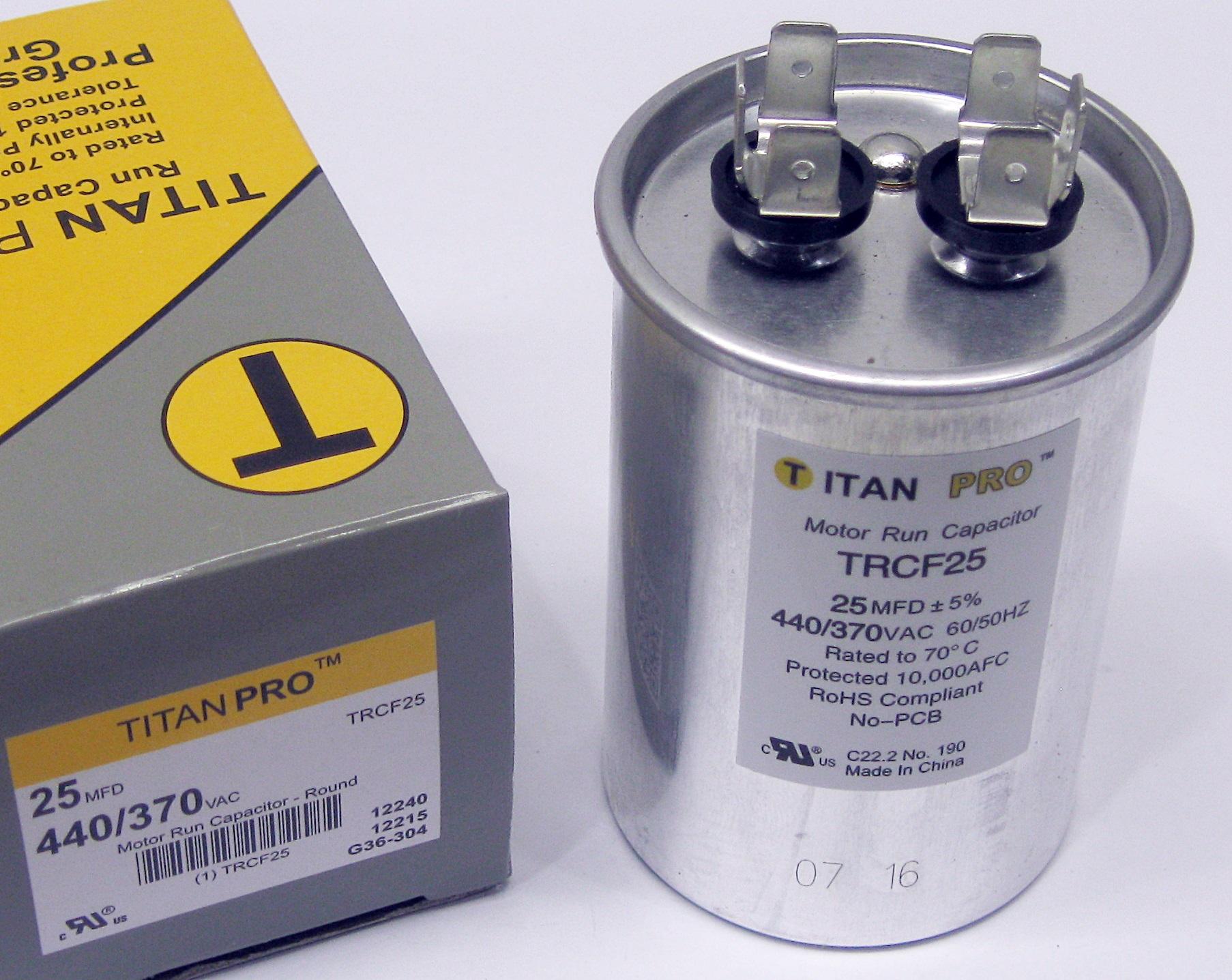 Titanpro Trcf25 Hvac Round Motor Run Capacitor 25 Mfd Uf